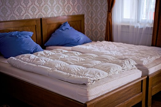 14. Blue Confort beds